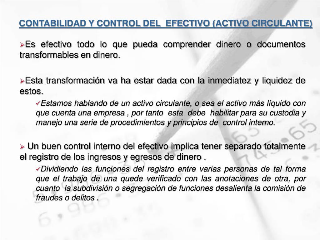 contabilidad y control del efectivo activo circulante l.