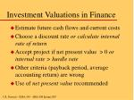 investment valuations in finance