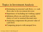 topics in investment analysis