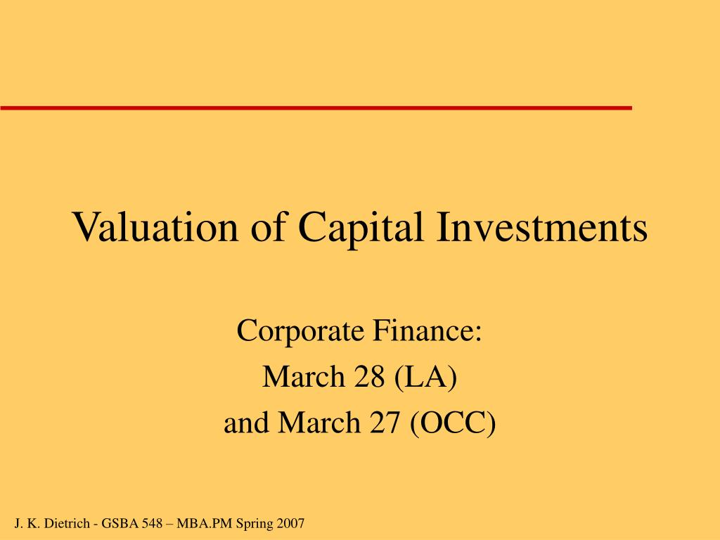 valuation of capital investments