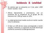 incidencia letalidad