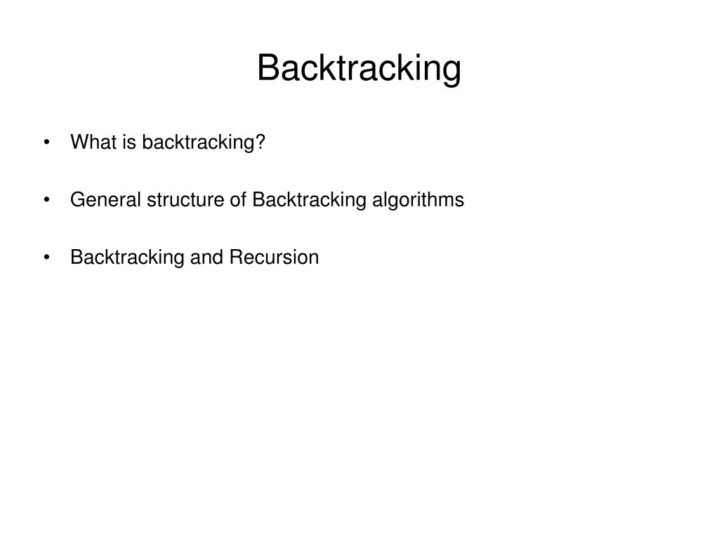 backtracking l.