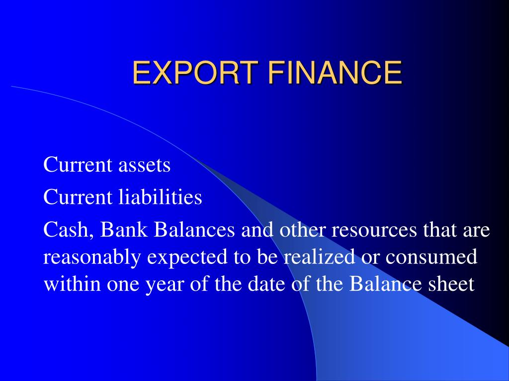 EXPORT FINANCE