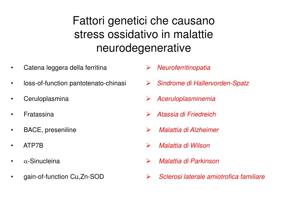 Fattori genetici che causano stress ossidativo in malattie neurodegenerative