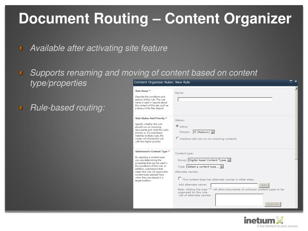 Document Routing – Content Organizer