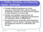 1 validity reliability and reporting issues continued