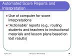 automated score reports and interpretation