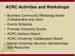 acrc activities and workshops