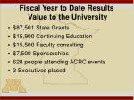 fiscal year to date results value to the university