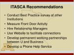 itasca recommendations