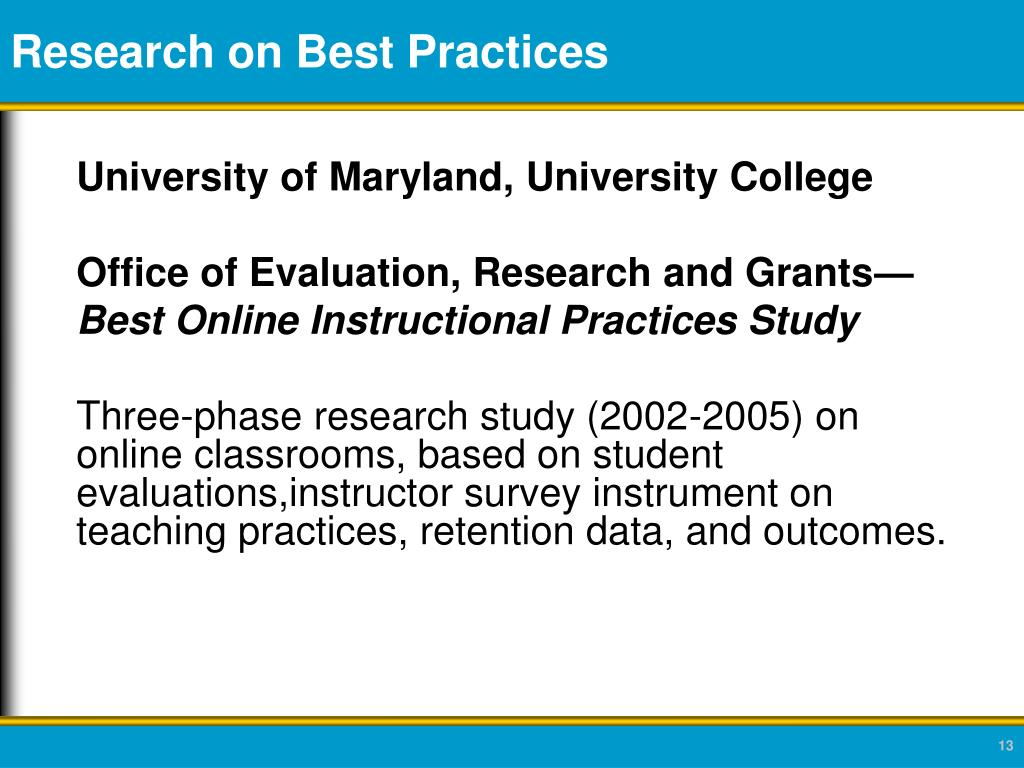 Research on Best Practices