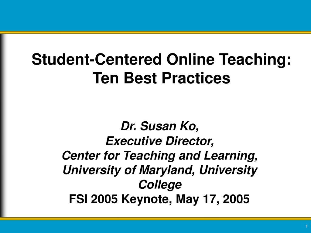 Student-Centered Online Teaching: