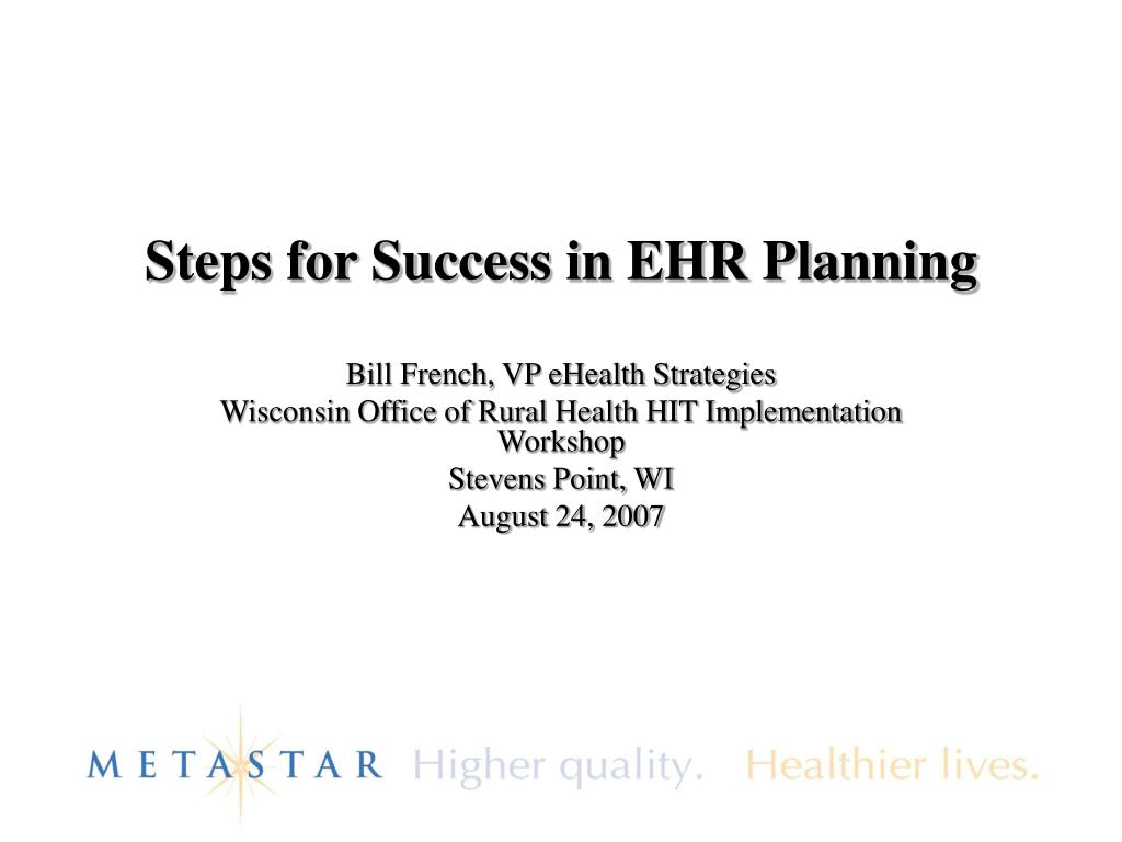steps for success in ehr planning l.