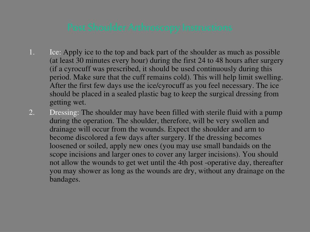Post Shoulder Arthroscopy Instructions