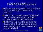 financial crimes continued
