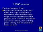 fraud continued