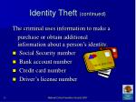 identity theft continued