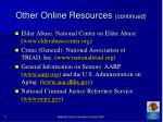 other online resources continued