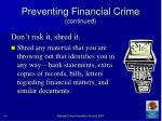 preventing financial crime continued