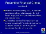 preventing financial crimes continued