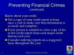 preventing financial crimes continued41