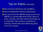 tips for elders continued70