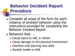 behavior incident report procedure
