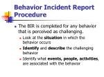 behavior incident report procedure38
