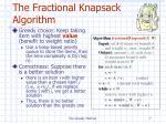 the fractional knapsack algorithm