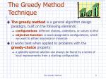 the greedy method technique