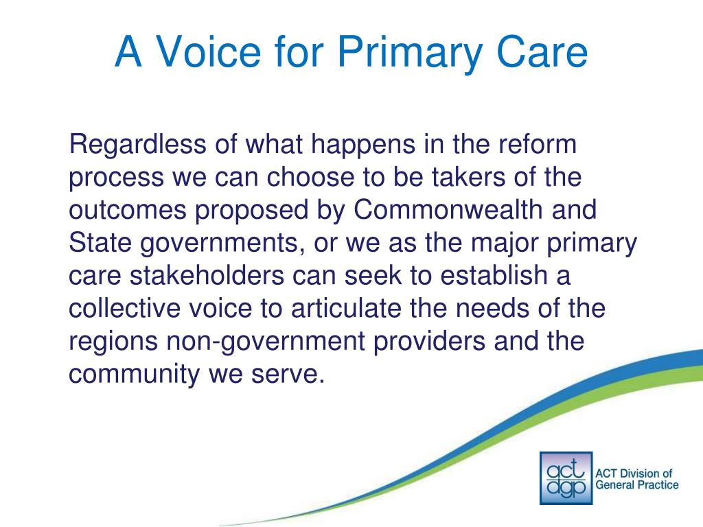 A Voice for Primary Care