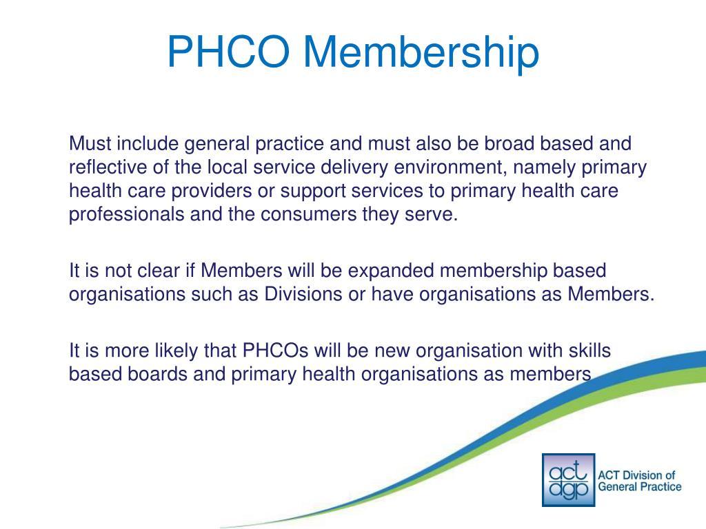 PHCO Membership