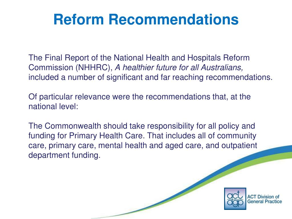 Reform Recommendations