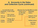 a accounts in the sales and collection cycle continued