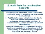 b audit tests for uncollectible accounts