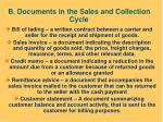 b documents in the sales and collection cycle