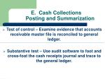 e cash collections posting and summarization
