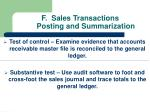 f sales transactions posting and summarization