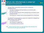 nature des informations conserver document d interpr tation