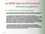 le droit dans les sts tertiaires structure du programme12