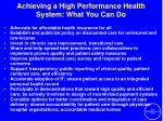 achieving a high performance health system what you can do31