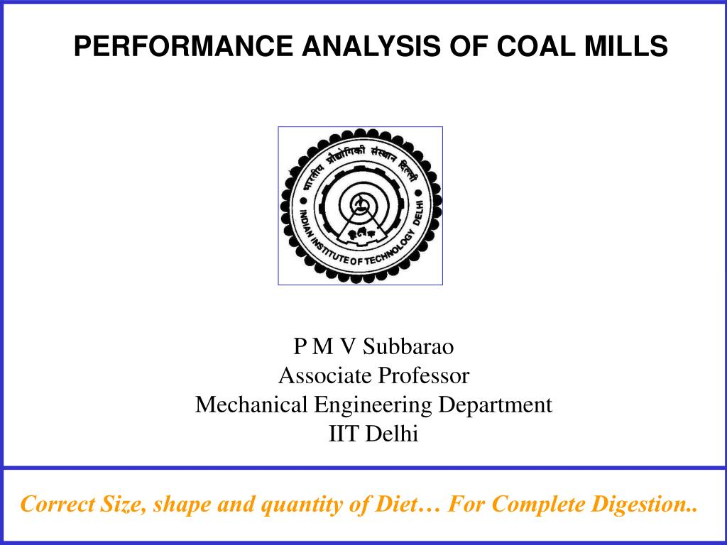 performance analysis of coal mills l.