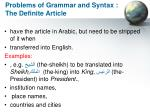 problems of grammar and syntax the definite article