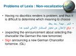 problems of lexis non vocalization