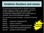 oxidation numbers and names