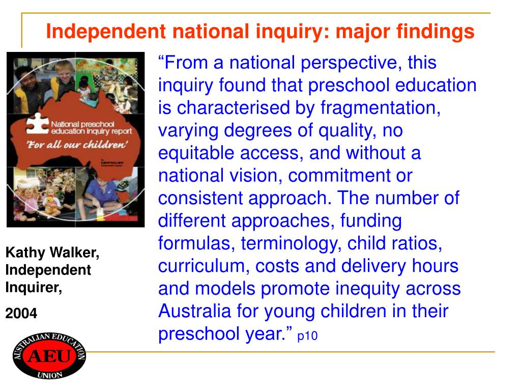 Independent national inquiry: major findings
