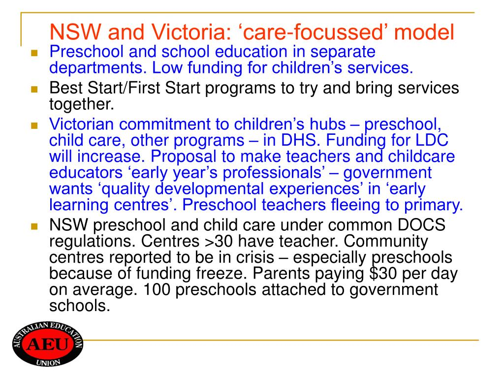 NSW and Victoria: 'care-focussed' model