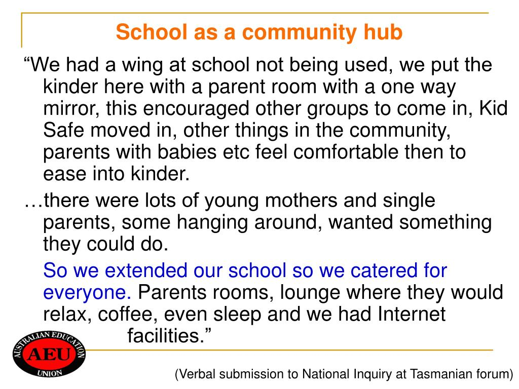 School as a community hub
