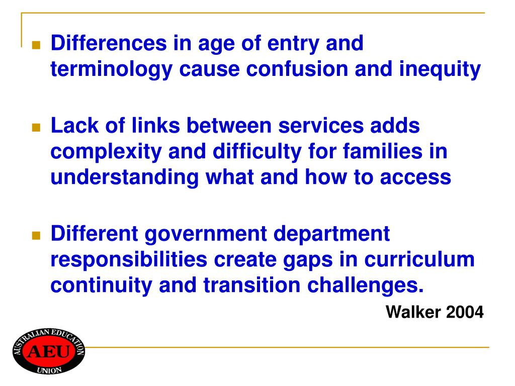 Differences in age of entry and terminology cause confusion and inequity