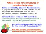 where we are now structures of preschool education